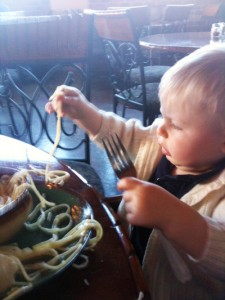 H's first Spaghetti!